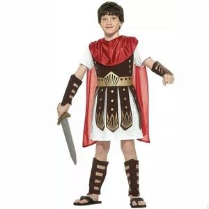 🆕 ROMAN WARRIOR Child Boy Costume Gladiator M L